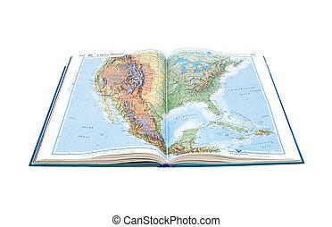 mapa, unidas, mexico., isolado, estados, experiência., atlas, mundo, página branca, abre