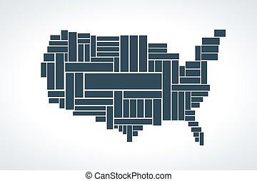 mapa, unidas, rectangles., ilustração, estados, vetorial, feito