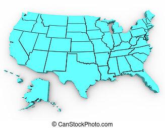 mapa, unidas, render, -, a., estados, u., s., 3d