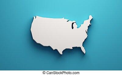 mapa, unidas, render, eua, ilustração, estados, 3d