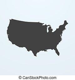 mapa, unidas, silueta, eua, map., estados, américa