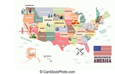 mapa, unido, atracciones, estados, famoso, américa