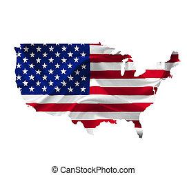 mapa, unido, bandera, aislado, ondulación, estados, blanco,...