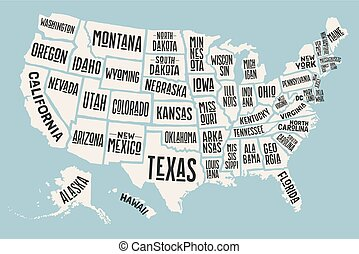 mapa, unido, cartel, estados, estado, nombres, américa