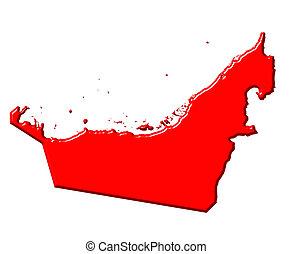mapa, unido, color, nacional, árabe, emiratos, 3d