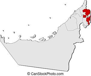 mapa, unido, fujairah, árabe, emiratos, destacado
