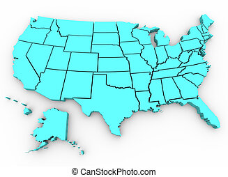 mapa, unido, render, -, a., estados, u., s., 3d
