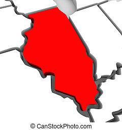 mapa, unido, resumen, illinois, estados, estado, américa,...
