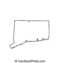 mapa, u.s., connecticut, stan