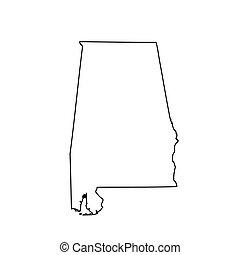mapa, u..s.., estado, alabama