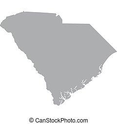 mapa, u..s.., estado, carolina del sur