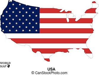 mapa, usa., flag.