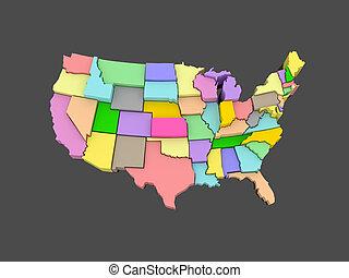 mapa, usa., tridimensional