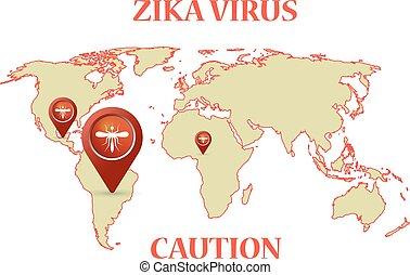 mapa, vírus, infographic, pernilongo, terra, zika