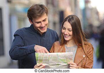 mapa, vacaciones de los pares, papel, utilizar, turistas, ...