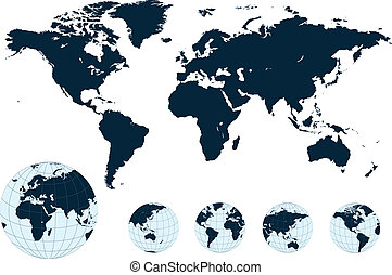 mapa, vector., świat
