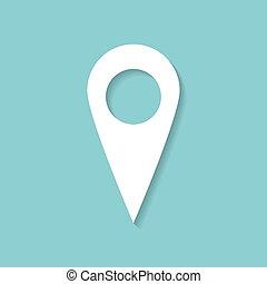 mapa, vector., alfiler, plano de fondo, blanco