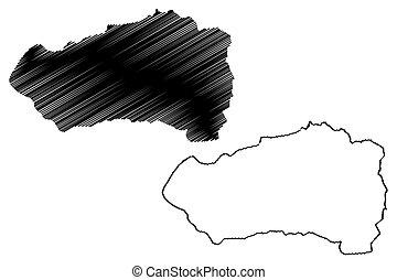 mapa, vector, bosquejo, departamentos, ilustración, salvador...