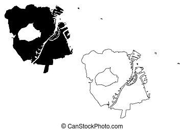 mapa, vector, bosquejo, garabato, kobenhavn, (kingdom, ciudad, denmark), ilustración, copenhague