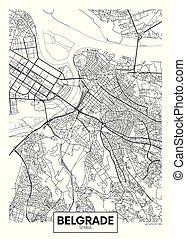 mapa, vector, ciudad, detallado, belgrado, cartel