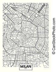 mapa, vector, ciudad, detallado, munich, cartel