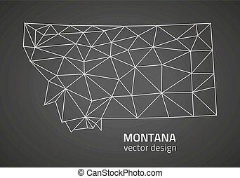mapa, vector, contorno, montana gris