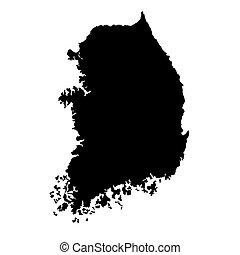 mapa, vector, corea al sur