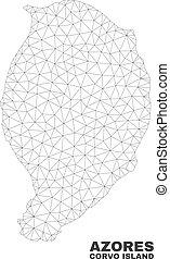 mapa, vector, corvo, isla, polygonal, malla