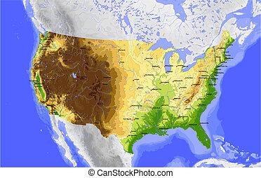 mapa, vector, estados unidos de américa, físico