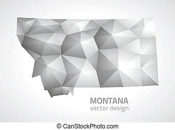 mapa, vector, gris, montana