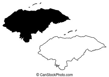 mapa, vector, honduras