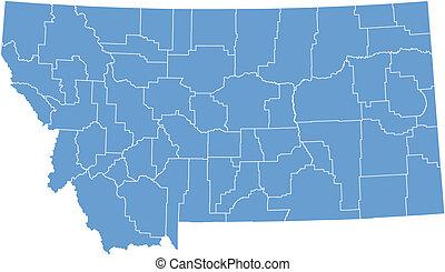 mapa, vector, montana