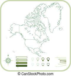 mapa, vector, norte, illustration., américa