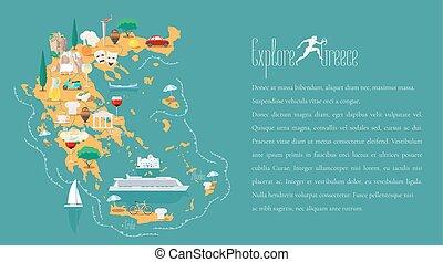 mapa, vector, plantilla, ilustración, grecia