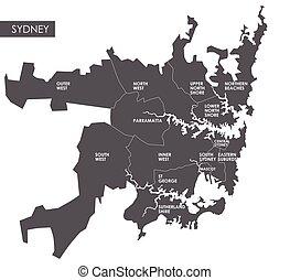 mapa, vector, sydney, distrito