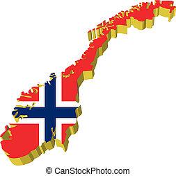 mapa, vectors, noruega, 3d