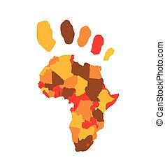 mapa, vektor, afrika, ilustrace
