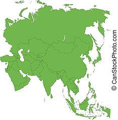 mapa, verde, ásia