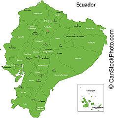 mapa, verde, ecuador