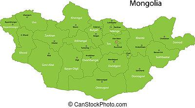 mapa, verde, mongolia