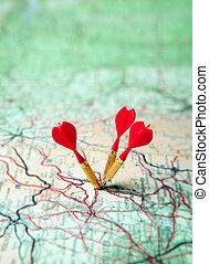 mapa, verde vermelho, dardos