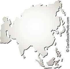 mapa, vetorial, ásia