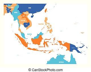 mapa, vetorial, ásia, sudeste
