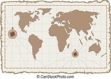mapa, vetorial, antigas, pergaminho, mundo