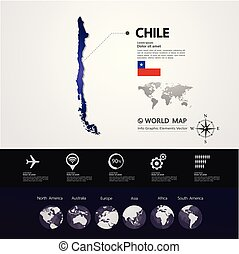 mapa, vetorial, chile