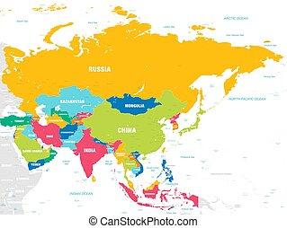 mapa, vetorial, coloridos, ásia