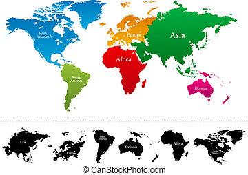 mapa, vetorial, continentes, coloridos, mundo