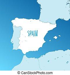 mapa, vetorial, espanha