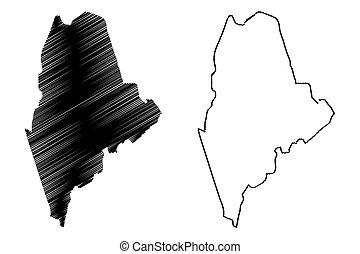 mapa, vetorial, maine
