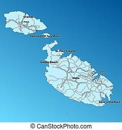 mapa, vetorial, malta